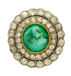 Green | Grün | Verde | Grøn | Groen | 緑 | Emerald | Lime | Colour | Texture | Style | Form | Pattern | emerald and diamond ring | circa 1910 |