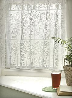 I love cafe curtains in kitchen windows, but I think I would use these as a layer in a bedroom window, too.