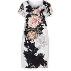 Steilmann Cream / Black Plus Size Floral print dress (1.625 ARS) ❤ liked on Polyvore featuring dresses, cream, plus size, women plus size dresses, cream dress, plus size floral dresses, floral print dress and knee-length dresses