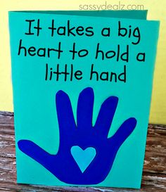 Meaningful Kid's Handprint Father's Day Card. but the opposite? Big heart little hand inside
