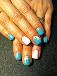 Teal, aqua, white flowers, cute nails, fun nails