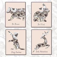 Nursery print set - Cat, Bear, Rabbit and Deer posters by ThePurplePrint on Etsy