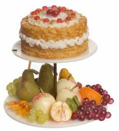Dollhouse miniature food Strawberry Cake with Fruits 2-Tier New   eBay