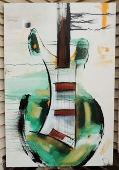 Guitar Painting Abstract Painting Green by heatherdaypaintings