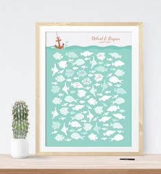 Nautical Wedding Guest Book Alternative with Fish in Ocean for Beach Wedding, Unique wedding guest book idea