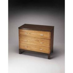Retro Multi-tone Gemilina Wood Slatted Chest in Maple Veneer