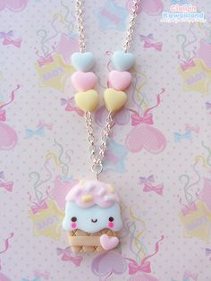 Silly gelato necklace in blue. Fimo Kawaii, Polymer Clay Kawaii, Kawaii Crafts, Polymer Clay Charms, Cute Crafts, Polymer Clay Jewelry, Polymer Clay Projects, Polymer Clay Creations, Diy Clay