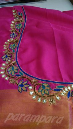 Cutwork Blouse Designs, Simple Blouse Designs, Bridal Blouse Designs, Aari Embroidery, Embroidery Works, Hand Embroidery Designs, Hand Work Blouse Design, Mirror Work Blouse, Maggam Work Designs