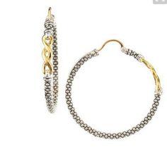 Lagos Hoop Earrings Caviar Twist 18k Gold Sterling Silver NWT $895.00 #Lagos #Hoop