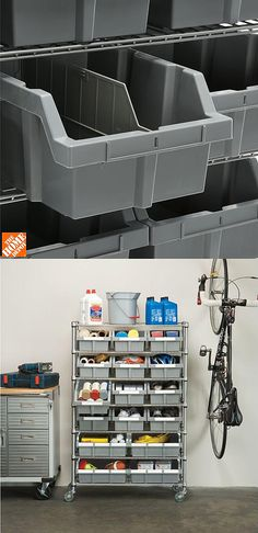 "Here's an advanced storage solution for the garage, craft room, office or classroom. ""This 7-shelf bin rack is exactly what my wife needed to sort out her craft and sewing supplies. It was beyond simple to assemble (took about 15-20 minutes and no tools) and it has really good locking wheels."" -Home Depot customer Donald"