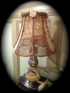 shabby chic lamp shades   ... shabby chic Lamp Shade coastal cottage burlap lampshade lamp shades