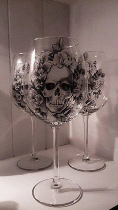 gothic home decor Skull and Roses Gothic Wine Glass Skull Decor, Skull Art, Goth Home, Skulls And Roses, Gothic Home Decor, Gothic Wedding, Skull Wedding, Deer Antler Wedding, Gothic House