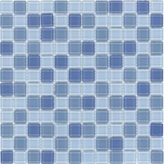 "Surfaces Elida Glass 12"" x 12"" Mosaic in Baby Blue Multicolor"