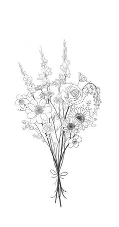 Bouquet Tattoo Design by Elizabeth Lowe – Tattoo Sketches & Tattoo Drawings Tatoo Flowers, Flower Bouquet Drawing, Flower Tattoos, Drawing Flowers, Art Floral, Des Fleurs Pour Algernon, Tattoo Drawings, Art Drawings, Drawing Art