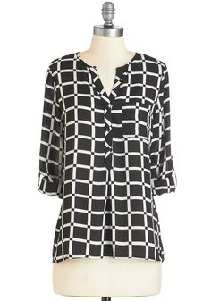 Master Classy Top. You may be here to learn, but you sure teach a thing or two about style with this black-and-white blouse! #black #modcloth