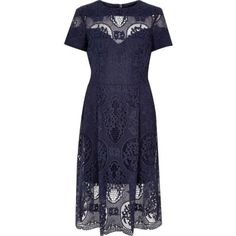 I'm shopping Navy lace midi dress in the River Island iPhone app.