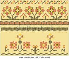 stock vector : Sets of ethnic cross stitch romanian flourish pattern Cross Stitch Boarders, Cross Stitch Sampler Patterns, Cross Stitch Samplers, Folk Embroidery, Cross Stitch Embroidery, Embroidery Patterns, Knitting Charts, Knitting Patterns, Pattern Images