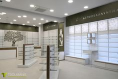 Fragoyianni Pharmacy Drug Design, Salon Design, Display Shelves, Shelving, Beauty Shop Decor, Pharmacy Store, Counter Design, Showroom Design, Retail Interior
