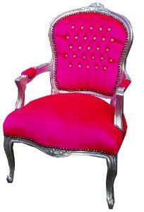Queen Anne chair, shabby chic antique French style Hot pink « Vintage Sweet and Chic