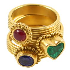 Maija Nemanis Precious Stone Stack Rings | From a unique collection of vintage three-stone rings at https://www.1stdibs.com/jewelry/rings/three-stone-rings/