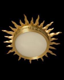 "Marvin Alexander,Inc. ""SUNBURST"" Motif gilded bronze and frosted glass flushmount, two light"