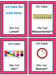 German version of the I have ... Who has ...? game. This German game can be played to practice German school words. The game has 43 cards with a colorful frame and 43 cards with a simple black frame to save you ink.