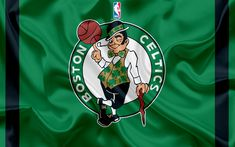 Download wallpapers Boston Celtics, basketball club, NBA, emblem, logo, USA, National Basketball Association, silk flag, basketball, Boston, Massachusetts, US basketball league, Atlantic Division