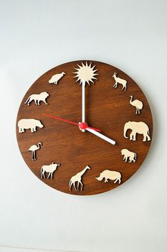 5faed2c58c8 Wooden clock Safari african animals Christmas gift by MustHaveGift Relógio  De Parede