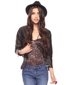 Textured Leatherette Jacket | FOREVER21 - 2083316012