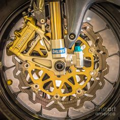 Racing-bike-wheel-with-brembo-brakes-and-ohlins-shock-absorbers-square-black-and-white-ian-monk