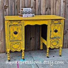 Yellow Vintage Desk/ Navy/ Vanity/ Bedroom by AquaXpressions, $275.00