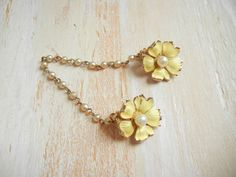 Vintage 1950's Sweater Clip | Flower Sweater Clips by GracedVestige on Etsy