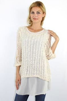 Ivory net like knitted sweater with sequins http://enewwholesale.com/pink-round-neck-knitted-sweater-with-diamond-patteren-clone.html