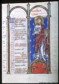 Psalter-hours (MS M.94). Cologne, Germany, between 1250 and 1274.  MS M.94  fol. 5r; Apostle Jude