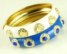 Gold Alloy Crystal Embellished Ceramic Bangle Bracelet-Color Blue