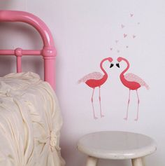 Pink Flamingo Wall DecalsTwo pretty flamingo birds Let these long legged lovelies add a pink splash to your room Flamingos stand 50cm tall and approx. 60cm wide with the two birds placed as pictured (Height measurement does not include the hearts) All our wall stickers are made of adhesive fabrics, removable and completely reusable - designed not to damage your walls Water based adhesive, non-toxic and bio degradableFabricBirds stand 50cm tall and approx. 60cm wide