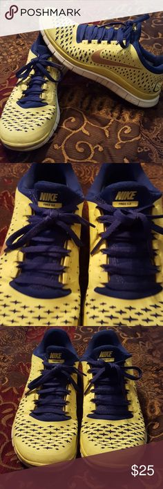 Women's Nike Free 3.0 size 8 shoe Women's size 8 yellow and navy blue Nike Free 3.0. Gently worn but they look really good. They are really light and comfortable.  To bright for my taste. nike Shoes Athletic Shoes
