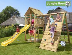 Jungle Gym Cabin inkl. klatrevæg med 1 gynge ekskl. rutsjebane | Køb online på Bilka.dk