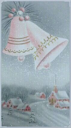 Christmas Card Images, Vintage Christmas Cards, Carol Of The Bells, Peace On Earth, Christmas Colors, Vintage Pink, Merry, Collection