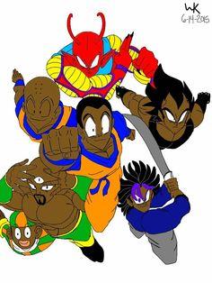 dragon ball multiverse Z fighters: The B fighters, goku,vegeta,trunks,krillin,piccolo