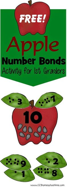 FREE Apple Number Bonds - This is such a fun fall math Activity; great fall, hands on educational activity for kindergarten and grade. Math Classroom, Kindergarten Activities, Teaching Math, Preschool, Kindergarten Class, Classroom Resources, Future Classroom, Math Resources, Math For Kids