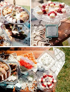 Use strings of pearls on the tables for a Great Gatsby or Breakfast at Tiffany's styled wedding or party