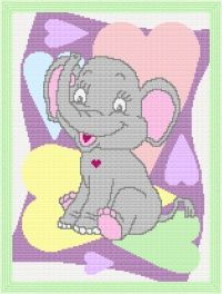 Baby Elephant Love Ya' Afghan Blanket Graph Crochet Pattern