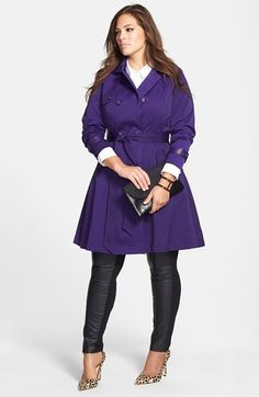 Via Spiga Plus Size Coat, Faux-Leather-Trim Pleated Pea Coat In ...