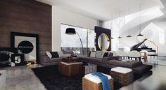 mobilier design, table basse en bois massif, tapis shaggy noir et cadre décoratif