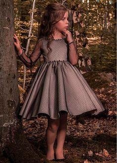 #Dressilyme - #Dressilyme Dressilyme Fashionable Tulle Bateau Neckline Long Sleeves Short Length Ball Gown Flower Girl Dresses With Beadings - AdoreWe.com