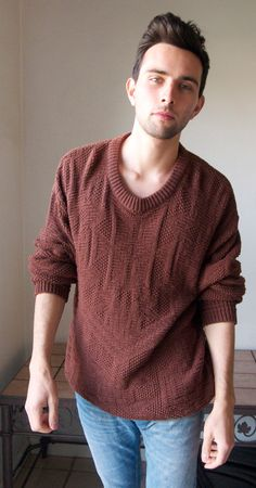 Copra  Vintage Sweater by MaikoVintage on Etsy, $30.00  This knit falls beautifully and has just the right shade of brown. Wear it with some jeans of your choice and those cozy shoes. Looks great over-sized. Do it well.