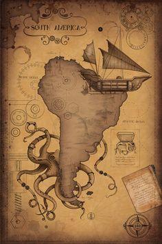 Steampunk World Map #steampunktendencies