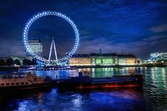 The Colorful London Eye at Night.