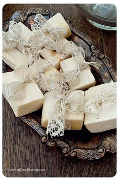 ❥ Soap tied w/lace on tarnished silver tray